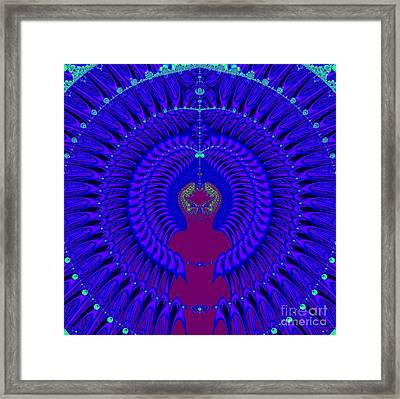 Blue Peacock Fractal 92 Framed Print