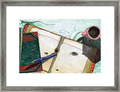 Blue Pen Framed Print by Judith Livingston