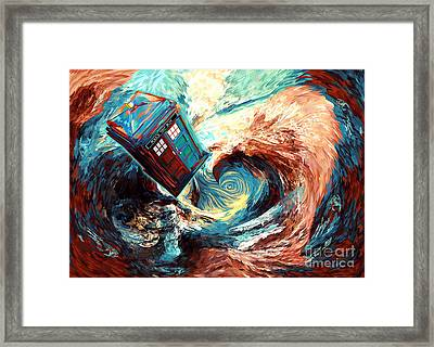 blue Phone booth jump into dark time vortex Framed Print by Three Second