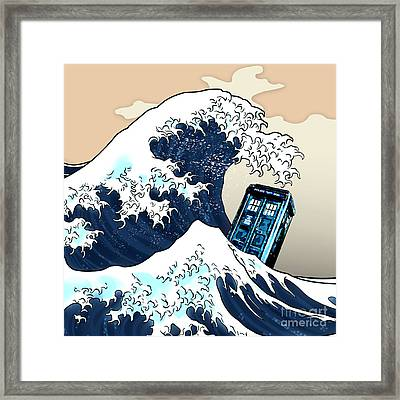 blue Phone booth vs the great wave Framed Print