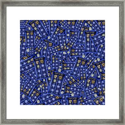 Blue Phone Box Pattern Framed Print by Lugu Poerawidjaja