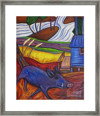 Blue Pig By Blue Hut Framed Print
