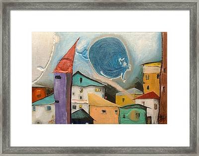 The Time Is Now Series Blue Pig Framed Print by Gabor Gyurko