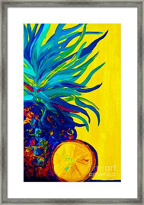 Blue Pineapple Abstract Framed Print