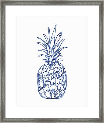 Blue Pineapple- Art By Linda Woods Framed Print