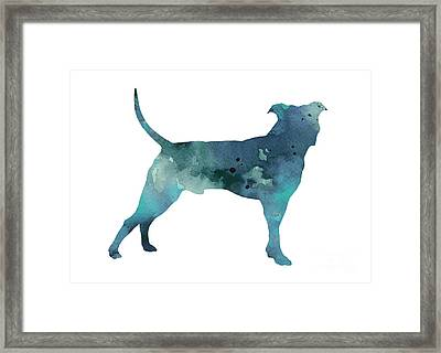 Blue Pit Bull Watercolor Art Print Painting Framed Print
