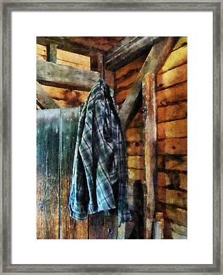 Blue Plaid Jacket In Cabin Framed Print by Susan Savad