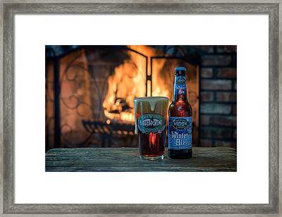 Blue Point Winter Ale By The Fire Framed Print by Rick Berk