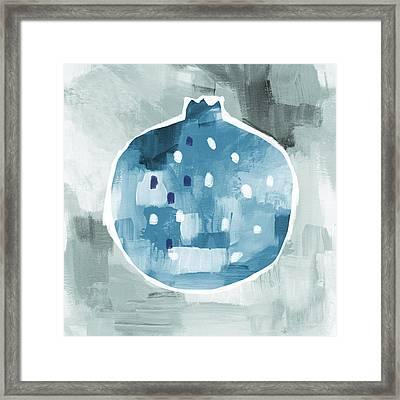Blue Pomegranate- Art By Linda Woods Framed Print