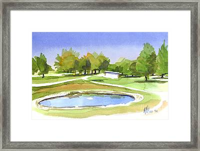 Framed Print featuring the painting Blue Pond At The A V Country Club by Kip DeVore
