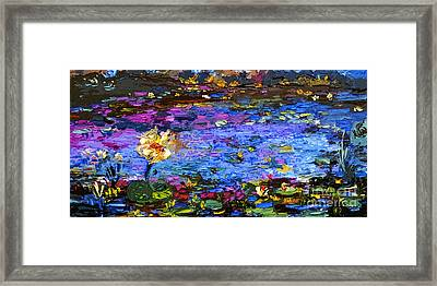 Blue Pond Modern Impressionist Painting By Gin Framed Print