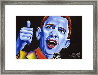 Blue Pop President Barack Obama Framed Print by Nannette Harris