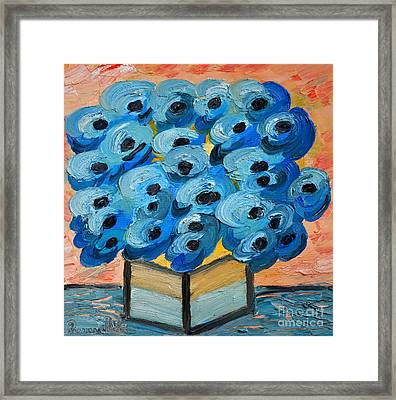 Blue Poppies In Square Vase  Framed Print by Ramona Matei