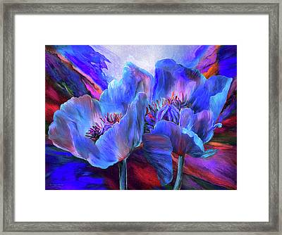 Framed Print featuring the mixed media Blue Poppies On Red by Carol Cavalaris