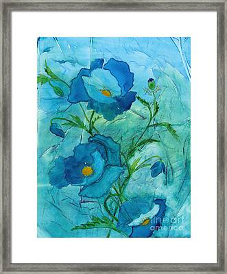 Blue Poppies, Watercolor On Yupo Framed Print