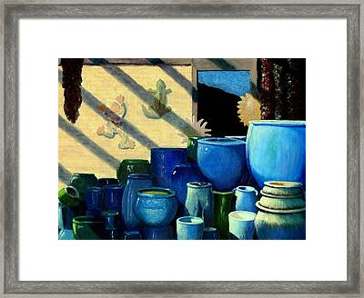 Blue Pots Framed Print