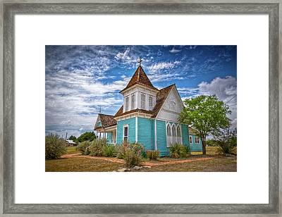 Blue Prairie Church Framed Print by Linda Unger