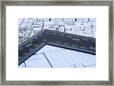 Blue Prints And Ruler Framed Print