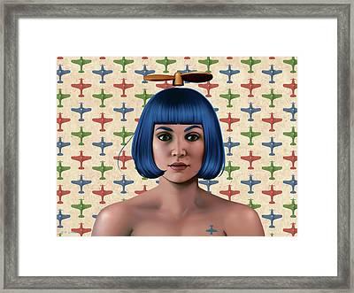 Blue Propeller Gal Framed Print