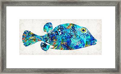 Blue Puffer Fish Art By Sharon Cummings Framed Print by Sharon Cummings