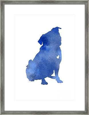 Blue Pug Dog Watercolor Silhouette Framed Print