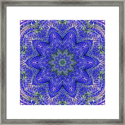 Blue Purple Lavender Floral Kaleidoscope Wall Art Print Framed Print by Carol F Austin