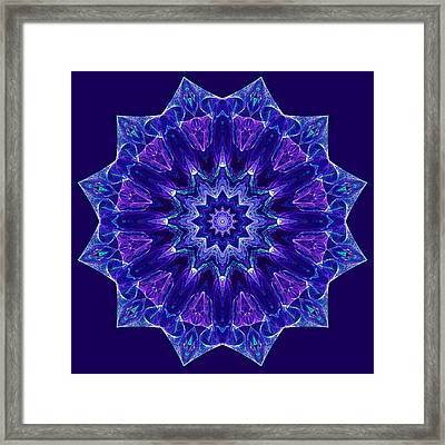 Blue And Purple Mandala Fractal Framed Print