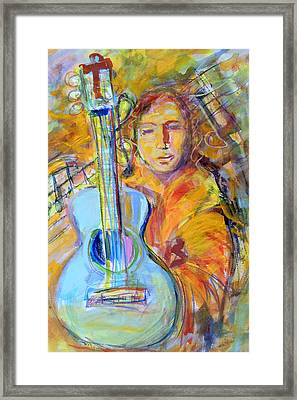 Framed Print featuring the painting Blue Quitar by Mary Schiros