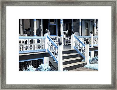 Blue Railing In Ocean Grove Framed Print by John Rizzuto