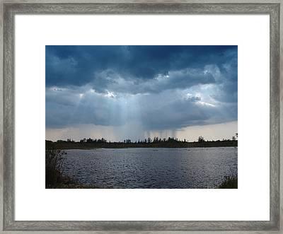 Blue Rain Down Framed Print by Florene Welebny