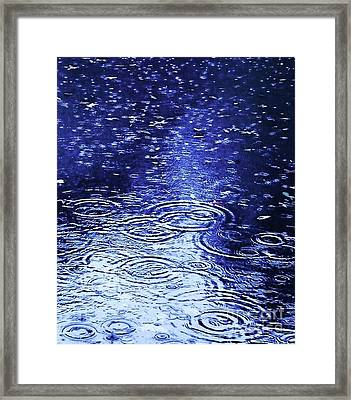 Blue Raindrops Framed Print by Maria Scarfone