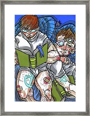 Blue Readers Framed Print