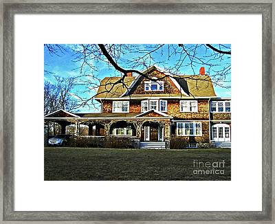 Blue Reflections And Barren Branches Framed Print by Mary Ann Weger