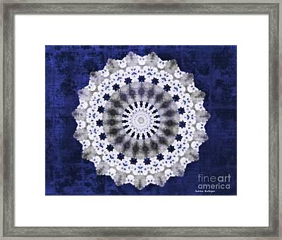 Blue Ribbon Mandala Framed Print by Sandra Gallegos