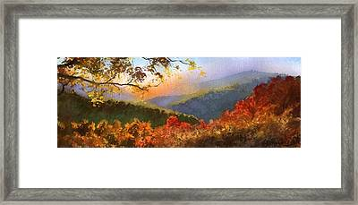 Framed Print featuring the painting Blue Ridge At Fall by Sergey Zhiboedov