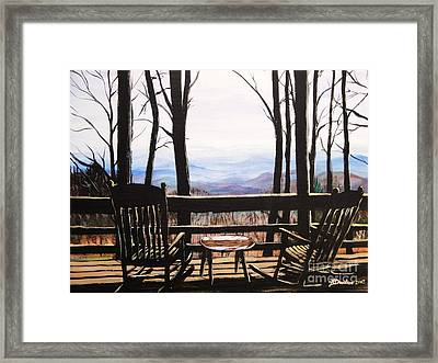 Framed Print featuring the painting Blue Ridge Mountain Porch View by Patricia L Davidson