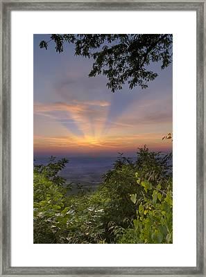 Blue Ridge Mountain Sunset Framed Print by Debra and Dave Vanderlaan