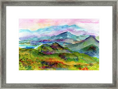 Blue Ridge Mountains Georgia Landscape  Watercolor  Framed Print