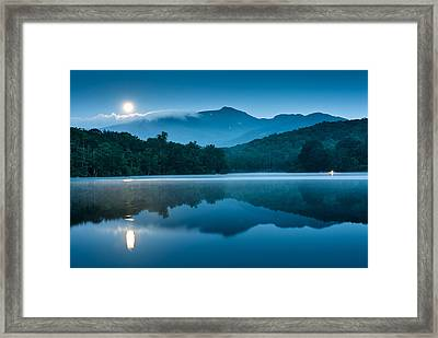 Blue Ridge North Carolina Full Moon Mountain Reflections Framed Print