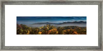 Framed Print featuring the photograph Blue Ridge Panorama by Ellen Heaverlo