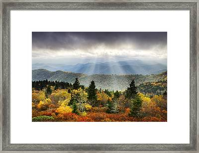 Blue Ridge Parkway Light Rays - Enlightenment Framed Print