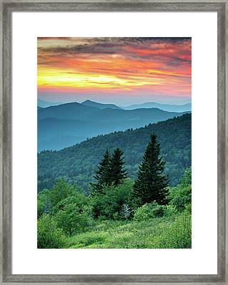 Blue Ridge Parkway Nc Landscape - Fire In The Mountains Framed Print by Dave Allen