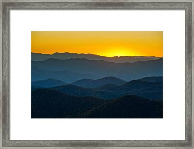 Blue Ridge Parkway Sunset Nc - Afterglow Framed Print by Dave Allen
