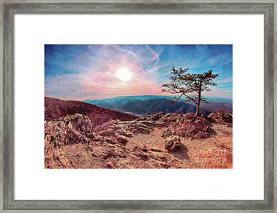 Framed Print featuring the digital art Blue Ridge Rocky Hilltop And Tree At Sunset Ap by Dan Carmichael