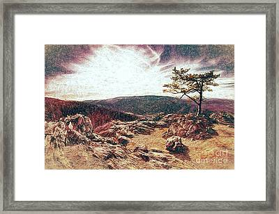 Framed Print featuring the digital art Blue Ridge Rocky Hilltop And Tree At Sunset Fx by Dan Carmichael
