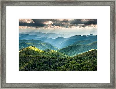 Blue Ridge Southern Appalachian Mountain Light Show Framed Print