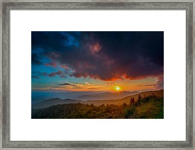 Framed Print featuring the photograph Blue Ridge Sunset by Joye Ardyn Durham
