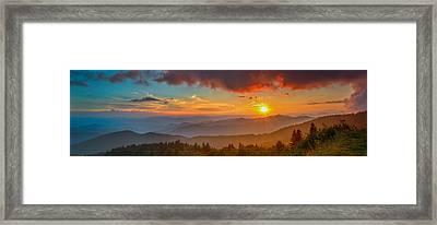 Blue Ridge Sunset Pano Framed Print