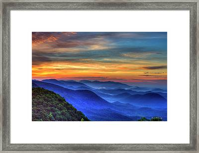 Framed Print featuring the photograph Blue Ridges 2 Pretty Place Chapel View Great Smoky Mountains Art by Reid Callaway