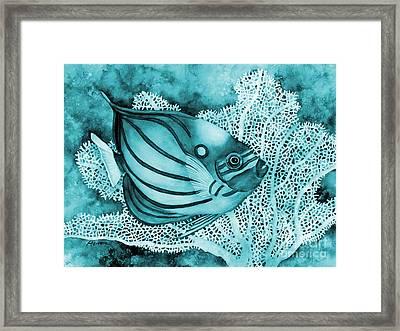 Blue Ring Angelfish On Blue Framed Print by Hailey E Herrera